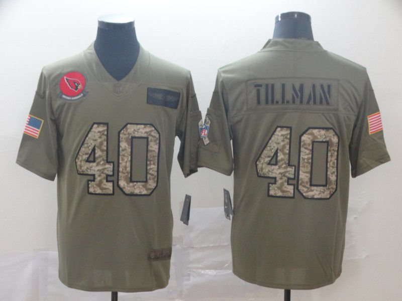 Men Arizona Cardinals 40 Tillman Nike 2019 Olive Camo Salute to Service Limited NFL Jerseys