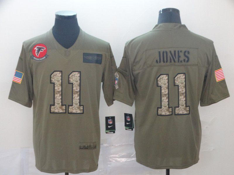 Men Atlanta Falcons 11 Jones Nike 2019 Olive Camo Salute to Service Limited NFL Jerseys