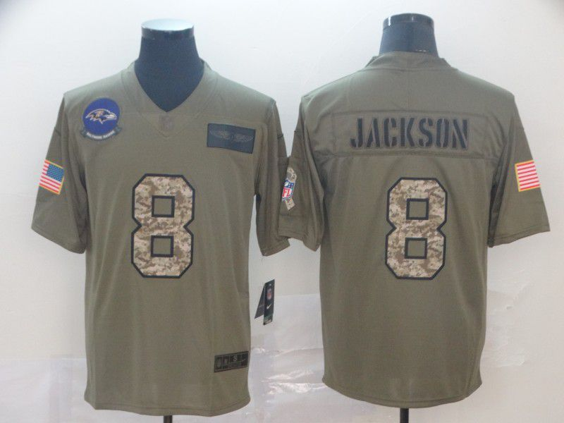 Men Baltimore Ravens 8 Jackson Nike 2019 Olive Camo Salute to Service Limited NFL Jerseys