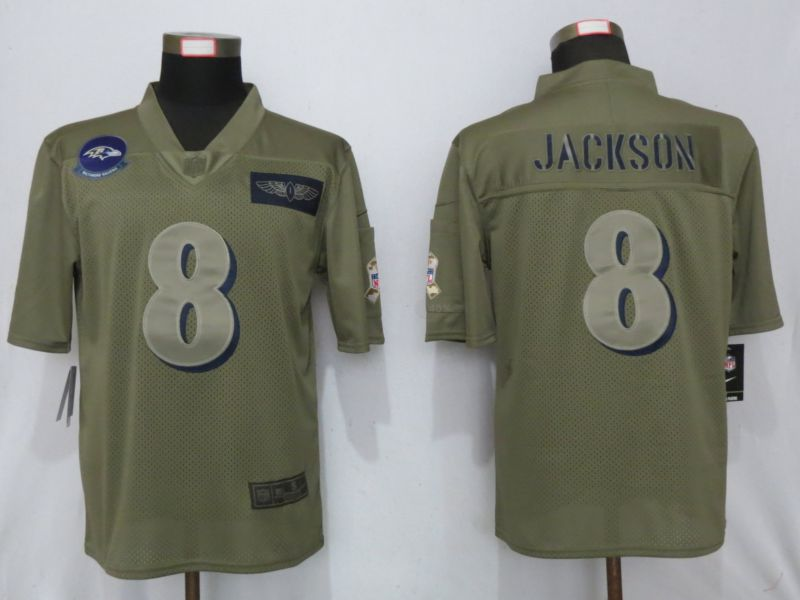 Men Baltimore Ravens 8 Jackson Nike Camo 2019 Salute to Service Limited NFL Jerseys