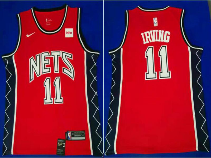 Men Brooklyn Nets 11 Irving Red City Edition Game Nike NBA Jerseys