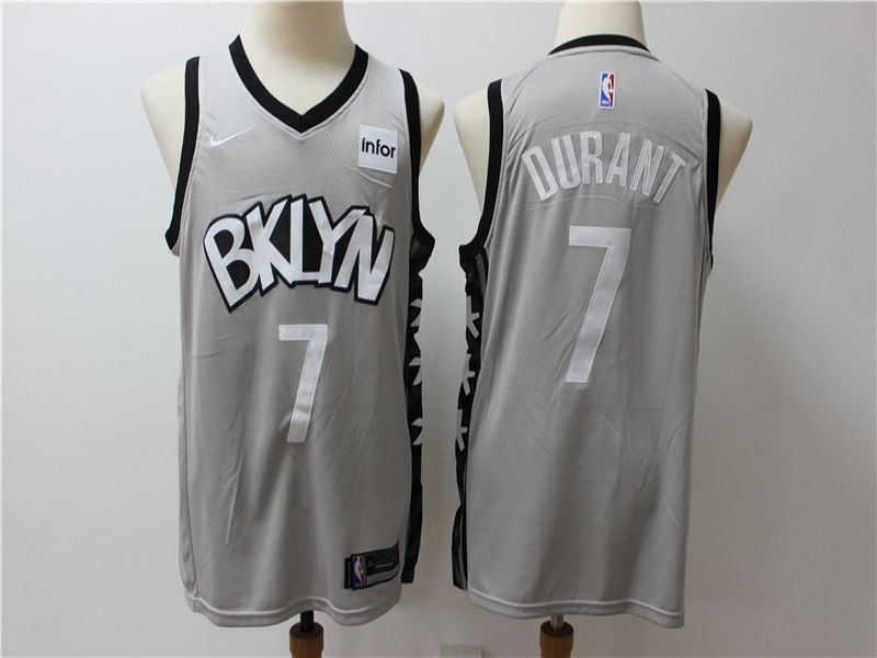 Men Brooklyn Nets 7 Durant Grey City Edition Game Nike NBA Jerseys