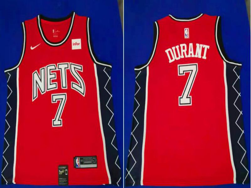 Men Brooklyn Nets 7 Durant Red City Edition Game Nike NBA Jerseys