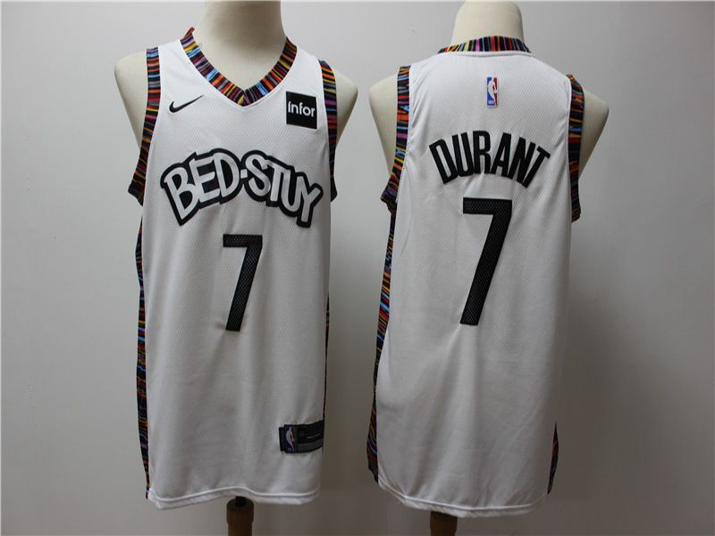 Men Brooklyn Nets 7 Durant White Game Nike NBA Jerseys