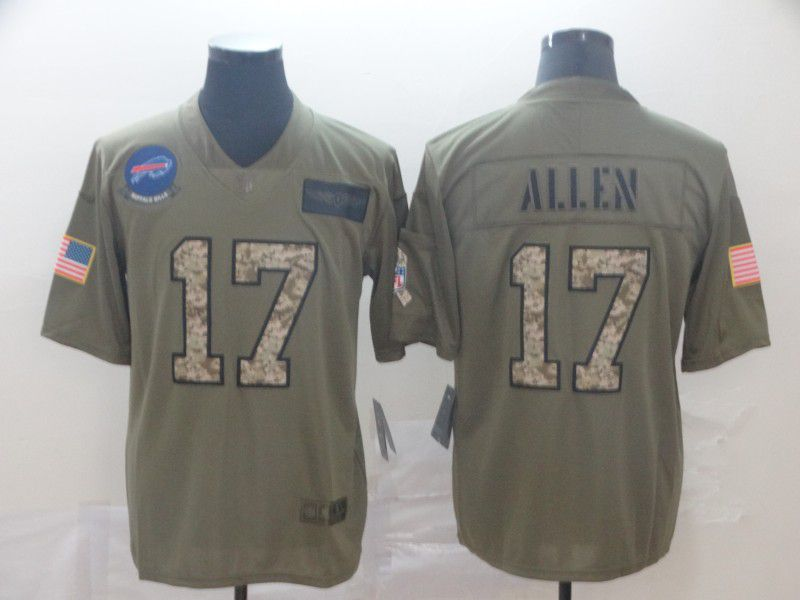 Men Buffalo Bills 17 Allen Nike 2019 Olive Camo Salute to Service Limited NFL Jerseys