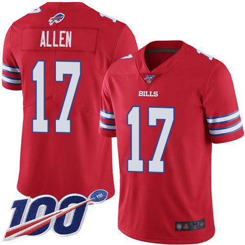 Men Buffalo Bills 17 Josh Allen Limited Red Rush Vapor Untouchable 100th Season NFL Jersey