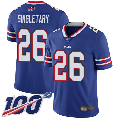 Men Buffalo Bills 26 Devin Singletary Royal Blue Team Color Vapor Untouchable Limited Player 100th Season NFL Jersey