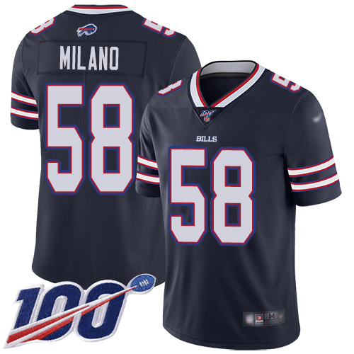 Men Buffalo Bills 58 Matt Milano Limited Navy Blue Inverted Legend 100th Season NFL Jersey