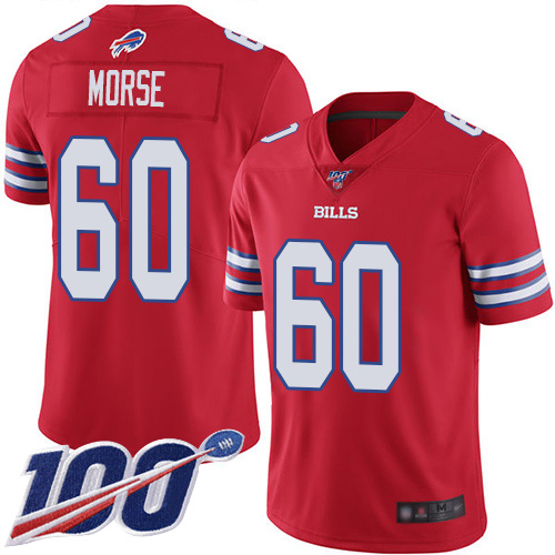 Men Buffalo Bills 60 Mitch Morse Limited Red Rush Vapor Untouchable 100th Season NFL Jersey