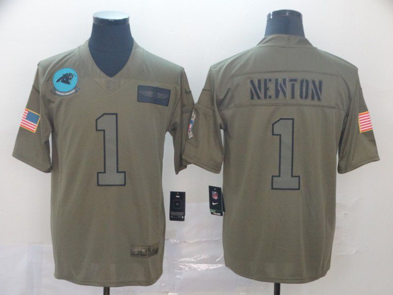 Men Carolina Panthers 1 Newton Nike 2019 Olive Camo Salute to Service Limited NFL Jerseys