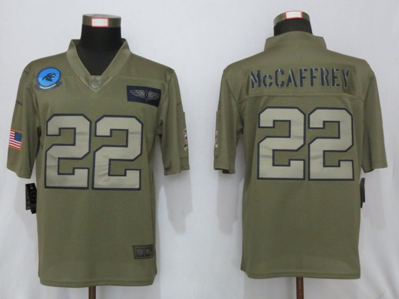 Men Carolina Panthers 22 McCaffrey Nike Camo 2019 Salute to Service Limited NFL Jerseys