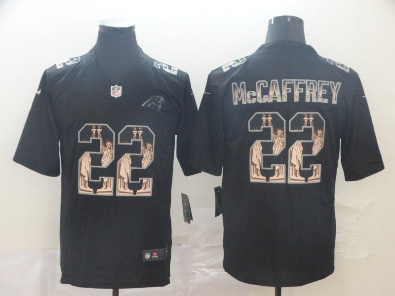 Men Carolina Panthers 22 Mccaffrey Black Nike Goddess fashion Edition NFL Jerseys