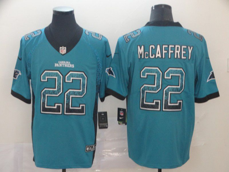 Men Carolina Panthers 22 Mccaffrey Green Nike Drift Fashion Color Rush Limited Jersey