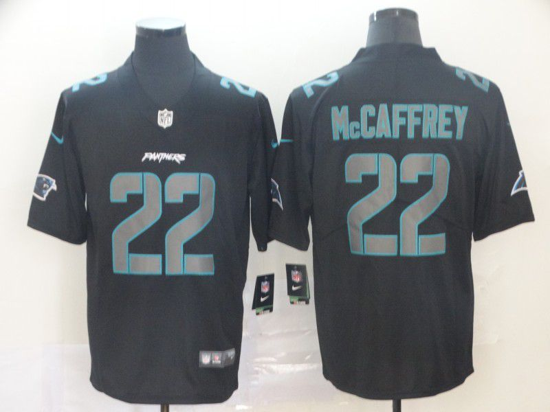 Men Carolina Panthers 22 Mccaffrey Nike Fashion Impact Black Color Rush Limited Jersey
