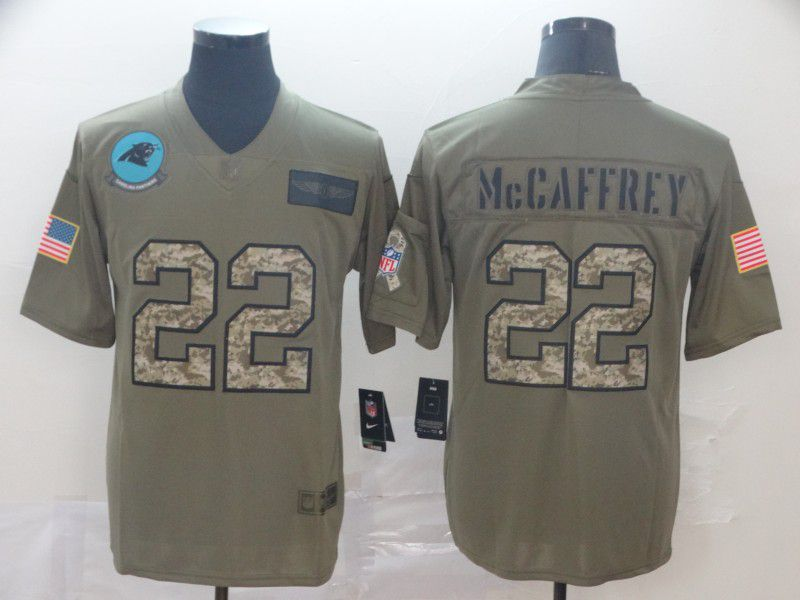 Men Carolina Panthers 22 Mccaffrey Nike 2019 Olive Camo Salute to Service Limited NFL Jerseys