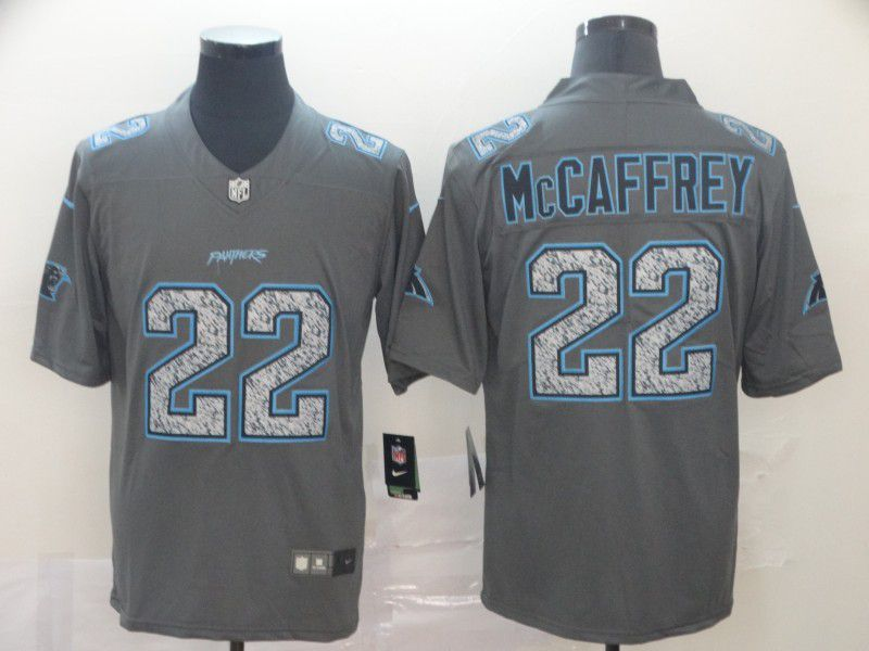Men Carolina Panthers 22 Mccaffrey Nike Teams Gray Fashion Static Limited NFL Jersey