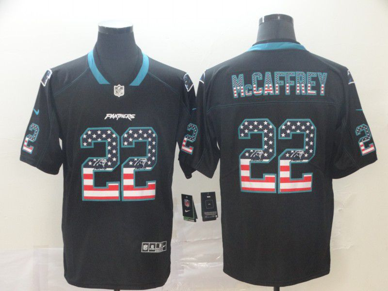 Men Carolina Panthers 22 Mccaffrey Nike USA Flag Fashion Black Color Rush Limited Jersey