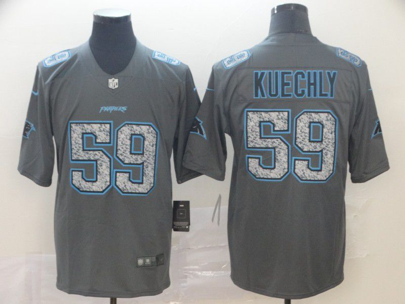 Men Carolina Panthers 59 Kuechly Nike Teams Gray Fashion Static Limited NFL Jersey