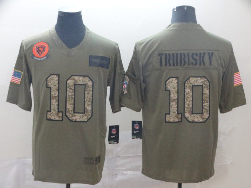Men Chicago Bears 10 Trubisky Nike 2019 Olive Camo Salute to Service Limited NFL Jerseys