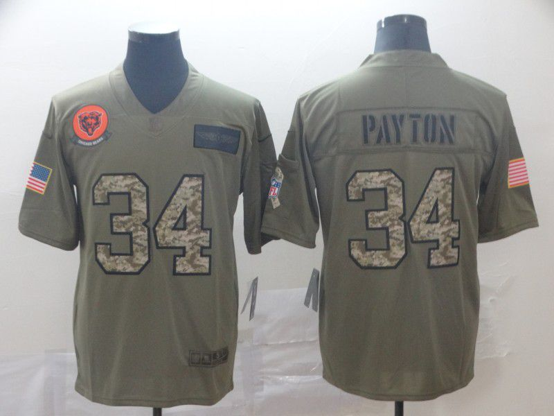Men Chicago Bears 34 Payton Nike 2019 Olive Camo Salute to Service Limited NFL Jerseys
