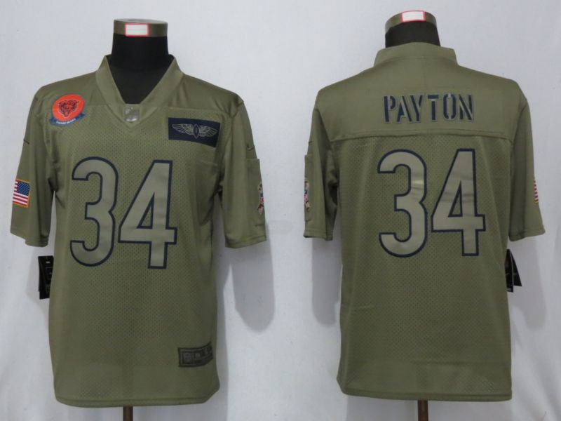 Men Chicago Bears 34 Payton Nike Camo 2019 Salute to Service Limited NFL Jerseys