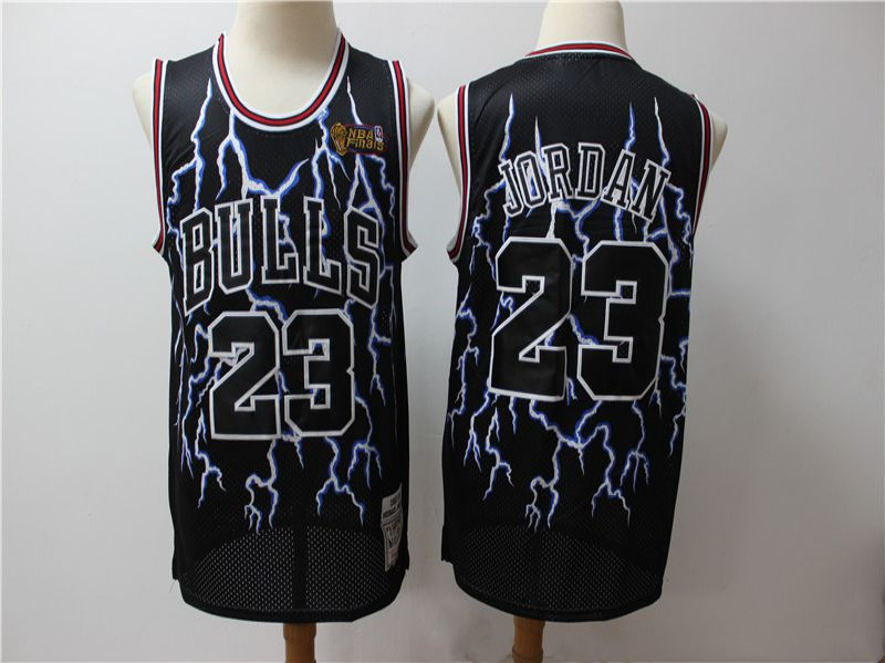 Men Chicago Bulls 23 Jordan Black Lightning version NBA Jerseys