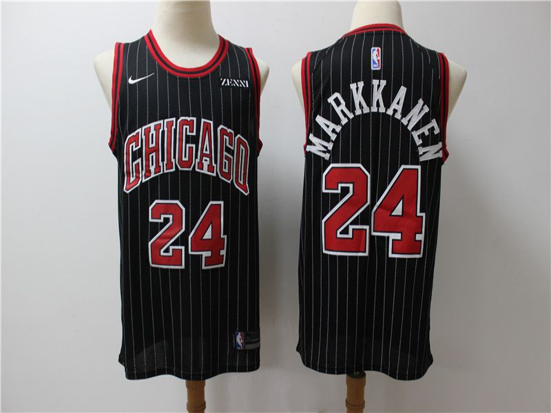 Men Chicago Bulls 24 Markkanen Black Game Nike NBA Jerseys