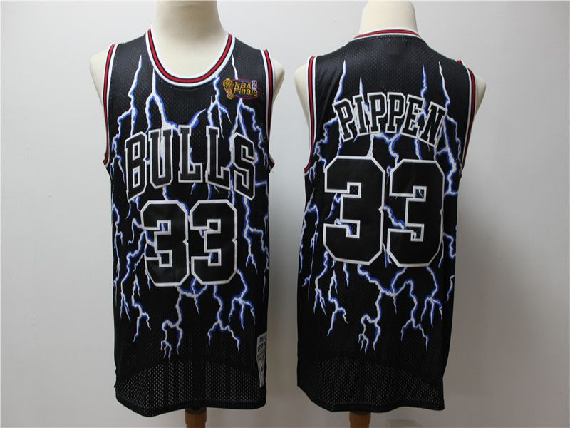 Men Chicago Bulls 33 Pippen Black Lightning version NBA Jerseys