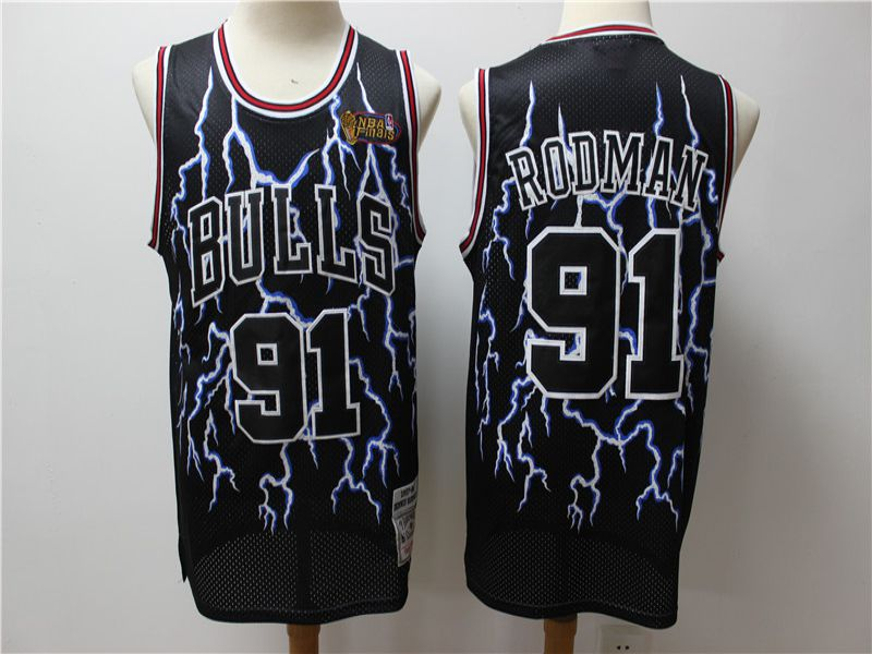 Men Chicago Bulls 91 Rodman Black Lightning version NBA Jerseys