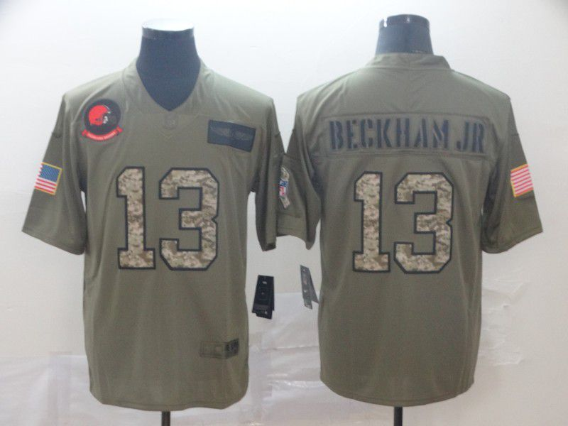 Men Cleveland Browns 13 Begkham jr Nike 2019 Olive Camo Salute to Service Limited NFL Jerseys
