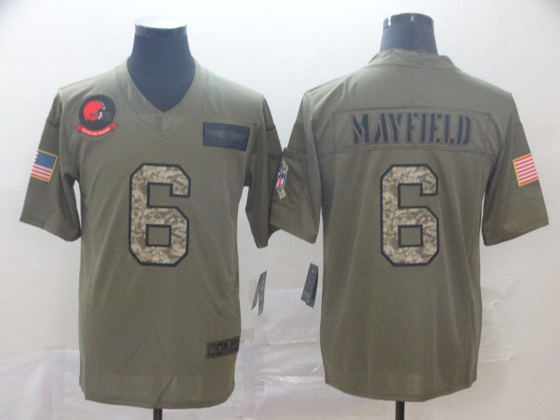 Men Cleveland Browns 6 Mayfield Nike 2019 Olive Camo Salute to Service Limited NFL Jerseys