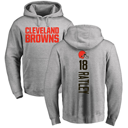 Men Cleveland Browns Damion Ratley Ash Jersey 18 NFL Football Backer Pullover Hoodie Sweatshirt