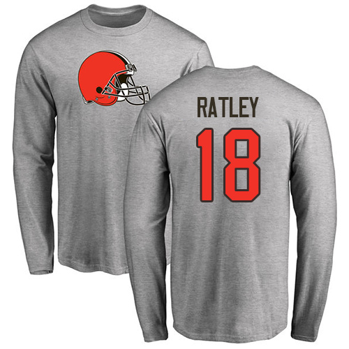 Men Cleveland Browns Damion Ratley Ash Jersey 18 NFL Football Name and Number Logo Long Sleeve T Shirt
