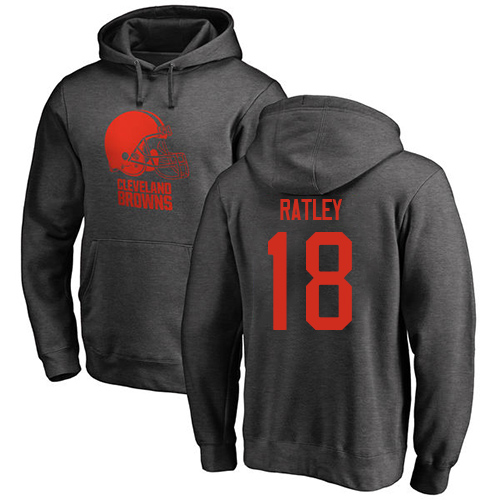 Men Cleveland Browns Damion Ratley Ash Jersey 18 NFL Football One Color Pullover Hoodie Sweatshirt