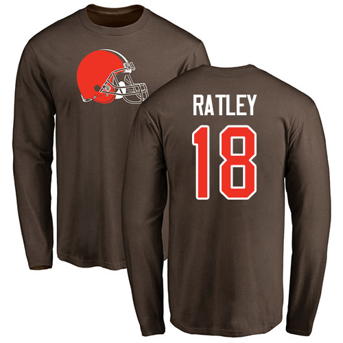 Men Cleveland Browns Damion Ratley Brown Jersey 18 NFL Football Name and Number Logo Long Sleeve T Shirt