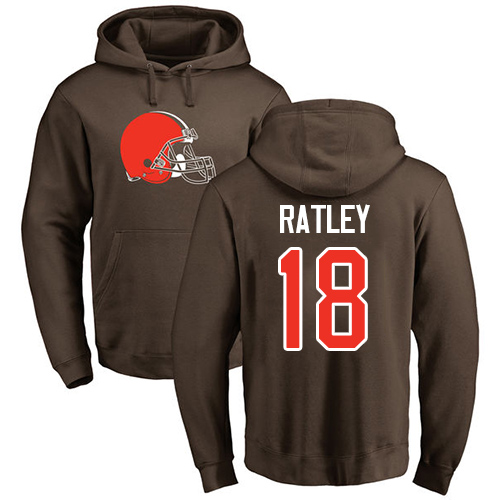 Men Cleveland Browns Damion Ratley Brown Jersey 18 NFL Football Name and Number Logo Pullover Hoodie Sweatshirt