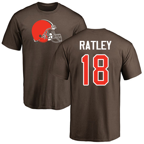 Men Cleveland Browns Damion Ratley Brown Jersey 18 NFL Football Name and Number Logo T Shirt