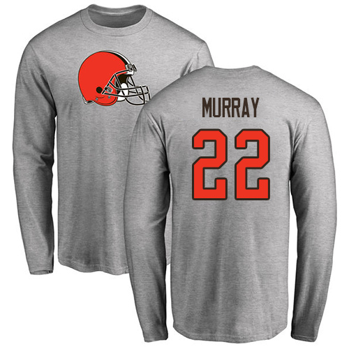 Men Cleveland Browns Eric Murray Ash Jersey 22 NFL Football Name and Number Logo Long Sleeve T Shirt