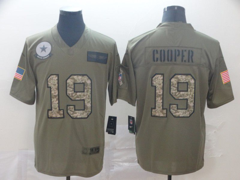 Men Dallas cowboys 19 Cooper Nike 2019 Olive Camo Salute to Service Limited NFL Jerseys