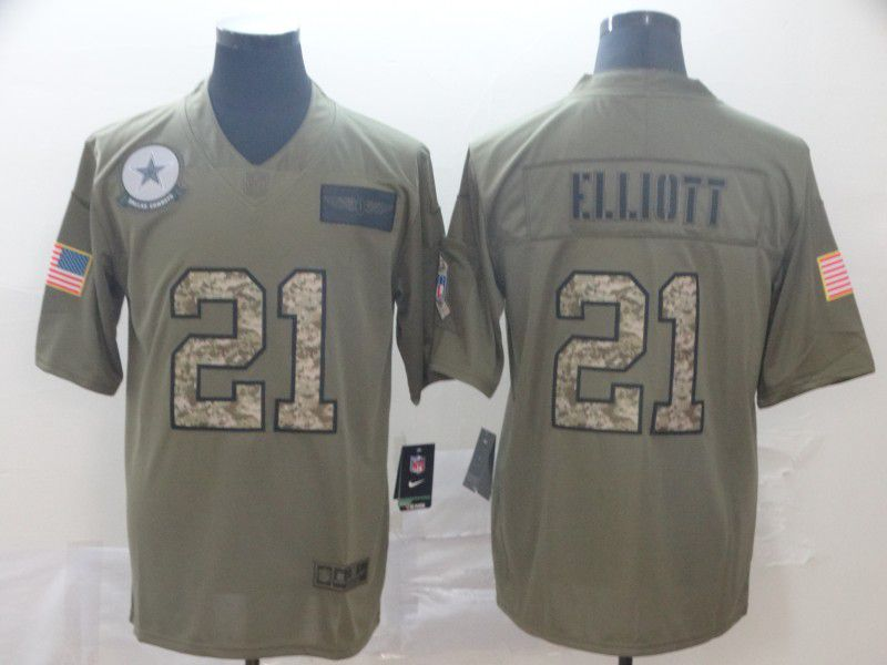 Men Dallas cowboys 21 Ellidtt Nike 2019 Olive Camo Salute to Service Limited NFL Jerseys