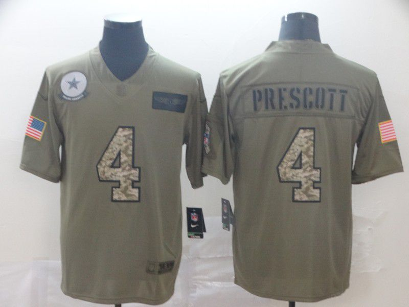 Men Dallas cowboys 4 Prescott Nike 2019 Olive Camo Salute to Service Limited NFL Jerseys