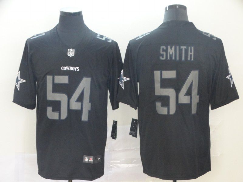 Men Dallas cowboys 54 Smith Nike Fashion Impact Black Color Rush Limited Jersey