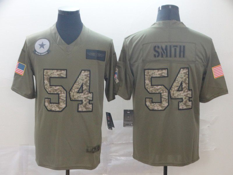 Men Dallas cowboys 54 Smith Nike 2019 Olive Camo Salute to Service Limited NFL Jerseys