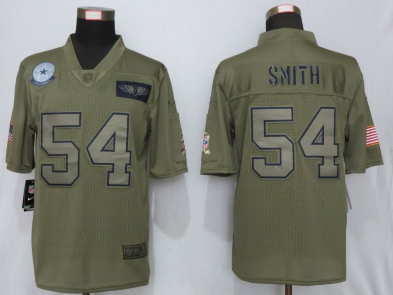 Men Dallas cowboys 54 Smith Nike Camo 2019 Salute to Service Limited NFL Jerseys