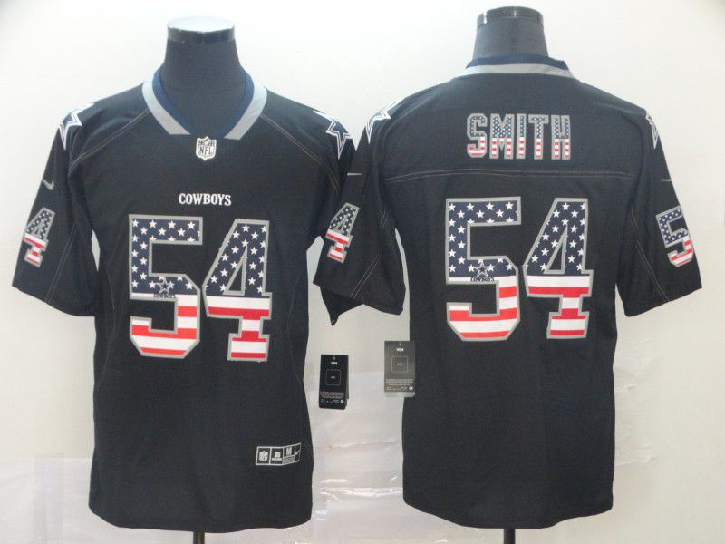 Men Dallas cowboys 54 Smith Nike USA Flag Fashion Black Color Rush Limited Jersey