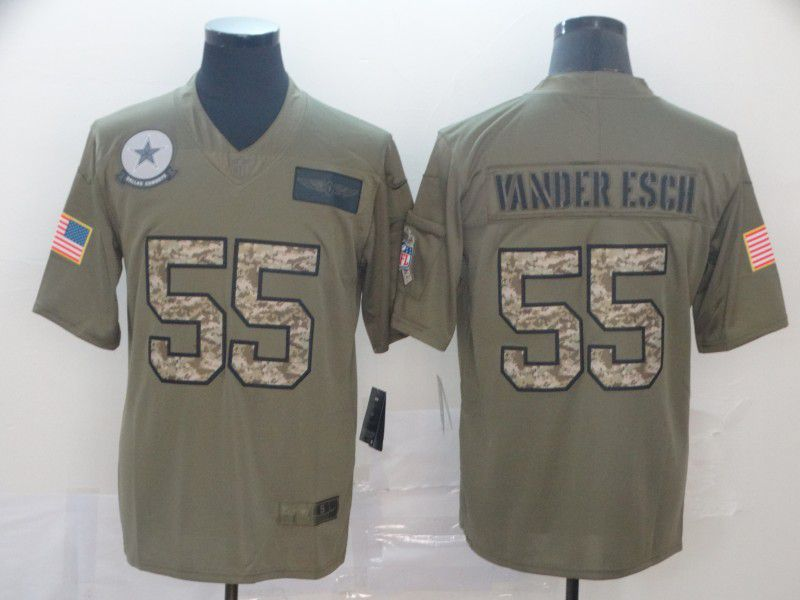 Men Dallas cowboys 55 Vander esch Nike 2019 Olive Camo Salute to Service Limited NFL Jerseys