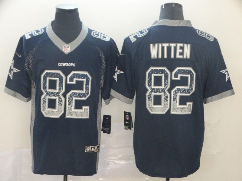 Men Dallas cowboys 82 Witten Black Nike Drift Fashion Color Rush Limited Jersey