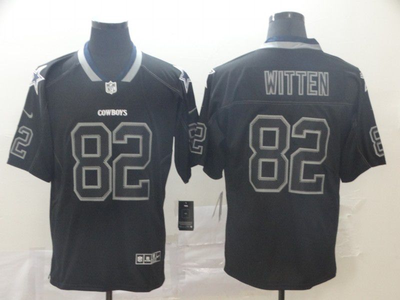 Men Dallas cowboys 82 Witten Black Nike Lights Out Black Color Rush Limited Jersey