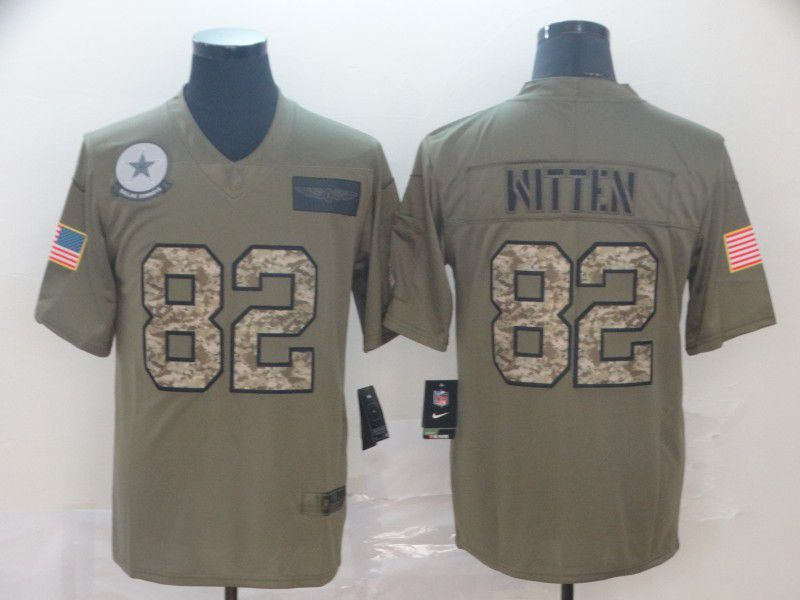 Men Dallas cowboys 82 Witten Nike 2019 Olive Camo Salute to Service Limited NFL Jerseys