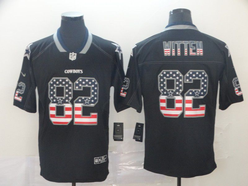 Men Dallas cowboys 82 Witten Nike USA Flag Fashion Black Color Rush Limited Jersey